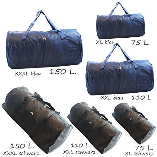 JUMBO, sehr große Sporttasche / Reisetasche, Tasche bis 150 Liter.schwarz blau (schwarz (150 Liter)) schwarz (150 Liter)