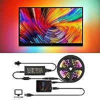 5M Mood Lighting LED Strip Kit for HDTV/PC, FORNORM RGB 5050 LED Light Strip Mood TV Backlight Kits, 60 LED/M, Color Changing via Video Music & Games, 5V 8A UK Power Adapter