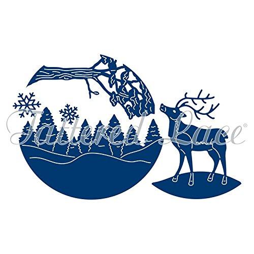 Tattered Lace-Set Weihnachten Schneekugel Innen Rentier Baum Szene etl222 (Rentier-schneekugel)