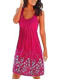 Vestidos Playa Mujer Cortos de Cuello Redondo Suelta Estampado Floral Vestido Sin Mangas Verano Boho Chic para Ceremonia Fiesta Casual Cóctel - Landove