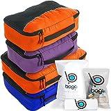Bago Packing Cubes - 4-teiliges Packwürfel Set für Reisen - Plus 6 Koffer Organizer Zip Beutel (2_Large+2_Medium_DBlueOrance(M)PurpleOrange, 2_Large+2_Medium)
