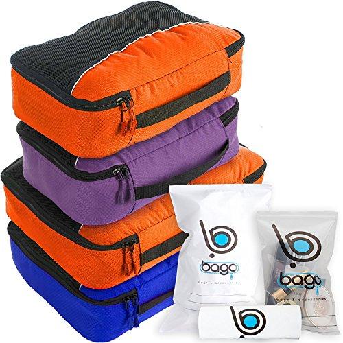 Cubos de embalaje valor establecido para viajes - 4 Organizador con documentos bolsa protectora (DBlueOrance(M) PurpleOrange)