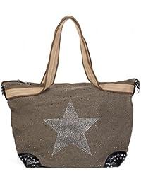 0915bf310 styleBREAKER bolso de mano en óptica de tela con estrella de estrás y  remaches, bolso de hombro, bolso de tipo…