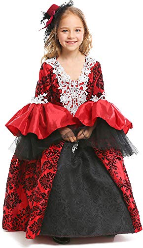 MOMBEBE COSLAND Mädchen Vampir Kostüme Prinzessin Kleid (S, Rot) (Vampir Mädchen Kostüme)