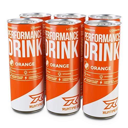Runtime BCAA Drink für Energie & Konzentration, Koffein, Aminosäuren, 6x250ml Orange