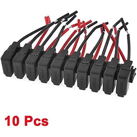 Sourcingmap a13101100ux0581 - Car van atc de audio en línea hoja portafusibles negro de la cc 12v de 10