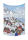daawqee Farm House Snowy Greenland North Scandinavian Peace Frozen Winter Nordic Idyllic Image Wall Hanging for Bedroom Living Room Dorm White Unique Home Decor