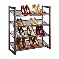 LANGRIA 4-Tier Metal Shoe Rack Utility Shoe Tower Shoe Organizer Shelf for Closet Bedroom & Entryway, Bronze
