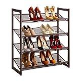 LANGRIA Schuhregal aus Metallgewebe Schuhablage mit 4 Ablagen Praktischer Schuhschrank 82x73.41x30.48 cm für ca. 16 Paar Schuhe, Bronze