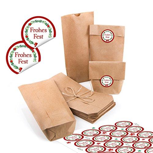 24 kleine braune Papiertüten natur Kraftpapier 10,7 x 22 x 4,2 cm + 24 runde Aufkleber Weihnachten FROHES FEST rot grün KRANZ Geschenk Verpackung Mini-Tüte