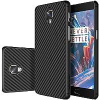 DolDer CarbonSeries Cover - Case - Schutzhülle für OnePlus 3/ OnePlus 3T Carbon black + PC Bumper, mit Metall inside, schwarz