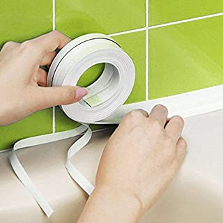 White Wall Sealing Tape Caulk Sealer Self Adhesive Kitchen Sink Bathroom Basin Tub Edge Waterproof Guard Anti-Scratch Decorative PVC Mildew Proof Sealant Strip Keep Wall Corner Countertop Clean 3.2mx