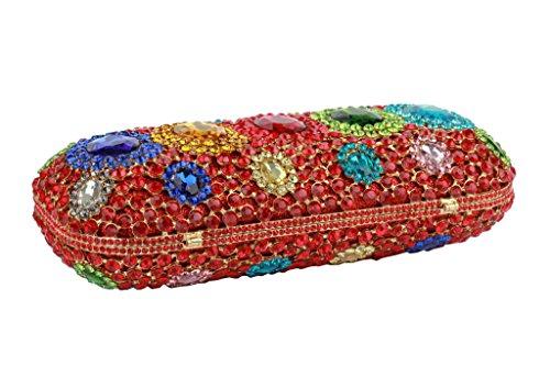 Yilongsheng Women lumineuses Pochettes avec Embarqués coloré cristaux rouge
