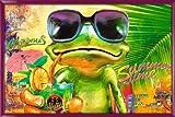 Poster mit Rahmen 61 x 91,5 cm, Pink - Cooler Frosch mit Sonnenbrille gerahmt - Antireflex Acrylglas