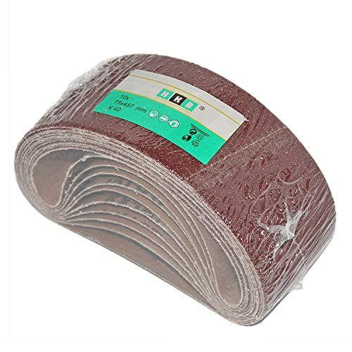 10 Stück HKB ® Gewebe-Schleifbänder, 75x457mm, K 40 für Bandschleifgeräte, hochwertige Profi-Qualität für verschiedene Oberflächen, Hersteller HKB, Artikel-Nr. 950725
