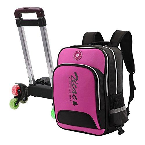 Zaino scuola bambino trolley bambina impermeabile 3 ruote rimovibile (rosa)