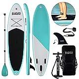 Triclicks Tavola da Paddle Surf Paddle Board (15 cm di Spessore) Pagaia, Pompa, Sacca Trasporto, Kit di Riparazione, Universale SUP all Round | Bottom Pinna| Antiscivolo Deck 10'9'