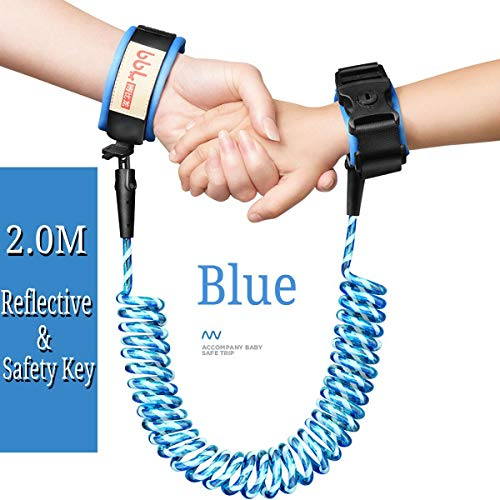 KUNSE Kids Baby Safety Lock Anti-Lost Night Reflective Harness Harness Harness Wristband Child Leash-Blau - Baby Lock Knopf