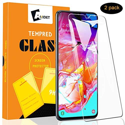 A-VIDET Panzerglas für Samsung Galaxy A70 Vollschutz-mit Ultra-Stärke Ultra-klare Transparenz Schutzfolie Bildschirmfolie für Samsung Galaxy A70 (2 Stück)