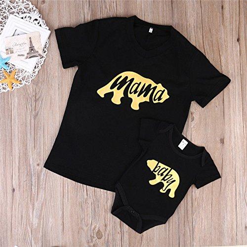 4d8bbc0b57ad2 ZXCVBN New Summer Family Match Clothes Women T-Shirt Tops Newborn Baby  Romper Bear Tops Mother Kids Outfits