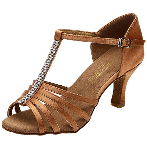 Oasap Women's Peep Toe Rhinestone Ankle Strap High Heels Latin Dance Shoes brown