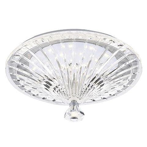 DAR VIN522 Vincent LED Crystal Glass Fluted Shade Flush Ceiling Light