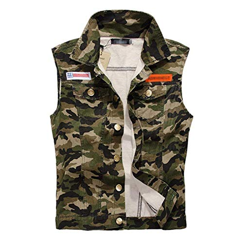 Camo Weste Slim Fit Cowboy Denim Weste Herren Herrenmode Vest Jeansweste Frühling Herbst Mode Sleeveless Jacken Weste Metallschnalle Button (Color : Tarnung, Size : XL) Button Weste