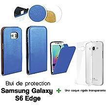Etui funda para con tapa vertical para Samsung Galaxy S6EDGE azul +–carcasa rígida transparente