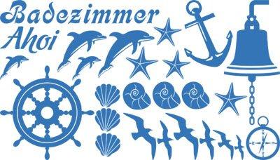 Wandtattoo Set Badezimmer Ahoi Maritim mit Muscheln und Delfine (100x57cm//053 hellblau)
