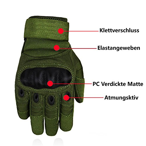 Limirror Herren Taktische Handschuhe Handschuhe Fahrradhandschuhe Motorrad Handschuhe outdoor sport Handschuhe Fitness Handschuhe Army Gloves Ideal für Airsoft, Militär, Paintball, Airsoft, Jag (Grün, L) - 2