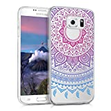 kwmobile Samsung Galaxy S6 / S6 Duos Hülle - Handyhülle für Samsung Galaxy S6 / S6 Duos - Handy Case in Indische Sonne Design Blau Pink Transparent