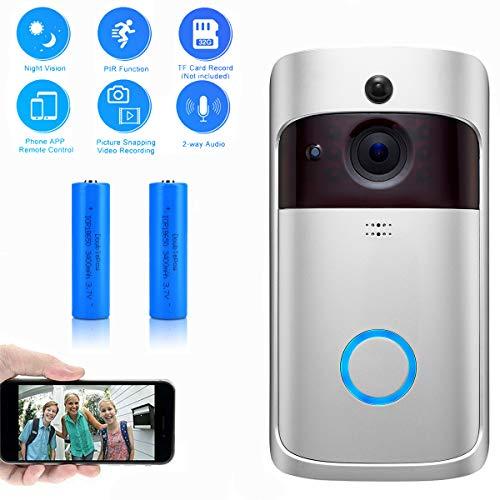 Evieun,campanello senza fili,wireless video doorbell,720P HD WiFi Videocitofono,Audio bidirezionale,PIR Rilevazione del Movimento,Visione Notturna,Video in Tempo Reale,for iOS&Android