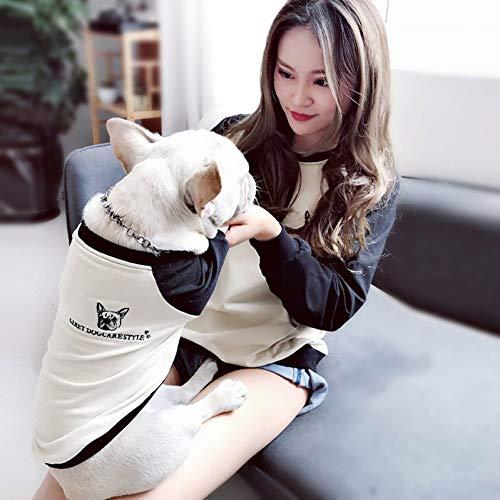 DOGCATMM Patchwork Hund Kleidung Bulldog Pet Passenden Kleidung Für Kleine Mittelgroße Hunde Mops Welpen Outfit Eltern-Kind Haustiere Hunde Kleidung Adult-patchwork Shirt