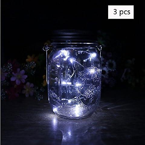 Ailier Lampes solaires de pot Mason à changement de couleur Couvercle Guirlande lumineuse LED pour verre décor de jardin Lampes Lanterne à suspendre pour décoratifs, bouteille DIY, extérieur, barbecue, DE Joie, DE NOËL, fête, mariage, vacances, blanc, Lot de 3