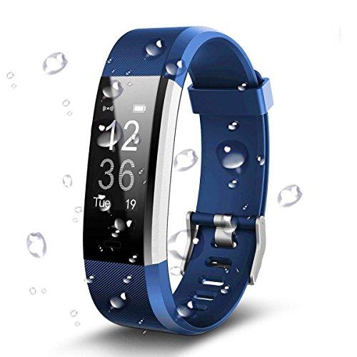 C-Xka Podómetro Impermeable de IP67 Bluetooth, perseguidor Inteligente de la Actividad del Monitor del Ritmo Cardíaco Smartwatch de la Pulsera Bluetooth Podómetro (Color : Blue)