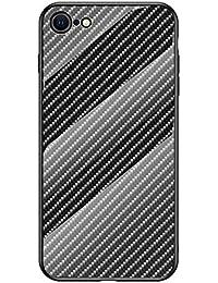 MadBee Funda para iPhone SE(2020) (4,7 Pulgadas) [con Protector de Pantalla],9H Cristal Templado [Patrón de Fibra] [Resistente a los Arañazos] + Borde de TPU Silicona Suave Fundas Case Cover (Negro)