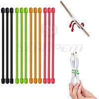 """Inpay - 12 /24 pcs Reutilizable Silicona Bridas Cables - Colores Variados 5 Tamaño (3"""" a 12 """") - Cables Organizadores para Engranajes, Cuerdas, Cables y Mucho Más - Reutilizables Cable Abrazaderas para Exterior, Hogar o Oficina (12 Pcs, 6"""" Negro/Verde/Naranja/Rosa)"""