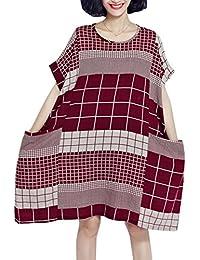 ELLAZHU Femme Été Plaid Large Grande Taille Sleeves Courtes Robe GA621