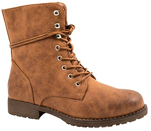 Elara Damen Stiefelette | Bequeme Schnürer Biker Boots | Lederoptik Profilsohle Camel