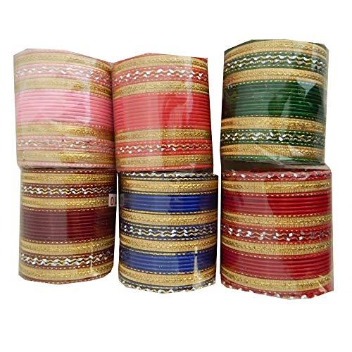 Bollywood Armreifen 144 Bangles 24er Sets goldfarbig bunt verschiedene Größen Farben