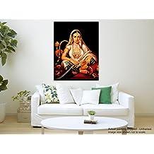 Pintura de la lona de Tamatina - La dama de la cachimba - Arte de Mughal