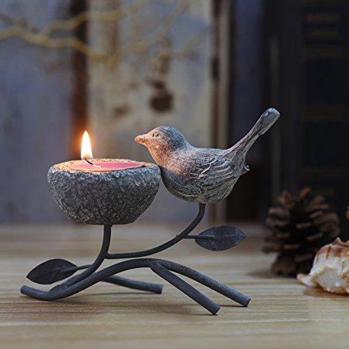 Portavelas metálico, portavelas decorativo, portavelas para mesa, decoración vintage para el hogar, centro de mesa, diseño de pájaros, nido y árbol de Marbrasse (gris y negro)