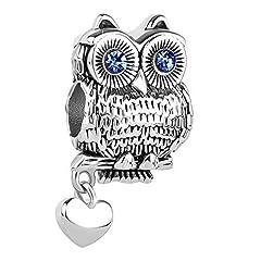 Idea Regalo - Sug Jasmin - Charm a forma di gufo saggio portafortuna, tema: animali, per braccialetti e Rame, colore: Blu., cod. SJC_DPC_MY945_X09