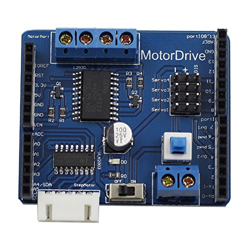 SunFounder Motor Driver Shield Expasion Board for Arduino, Drive DC Motor, Stepping Motor and Servo (Dc-servo-motor)