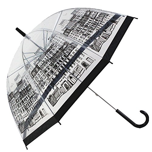 SVNA Bird Cage Transparenter Bubble Dome Regenschirm 8 Bone Automatischer offener Regenschirm 36 '' Durchmesser Sichtbar durch Plastikschirm Kinder Geeignet für Mädchen und Frauen,Building