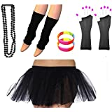 REDSTAR FANCY DRESS® Neon Tutu Skirt Leg Warmers Fishnet Gloves Necklace Beads and Neon Wrist Beads