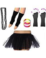 REDSTAR FANCY DRESS® Neon Tutu Skirt Leg Warmers Fishnet Gloves Necklace Beads and Neon Wrist Beads