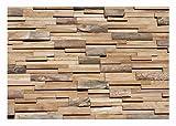 HO-010-1 Holz Paneele auf Netz Teakholz 3D Modul Verblender Wandverkleidung - Fliesen Lager Verkauf Stein-Mosaik Herne NRW