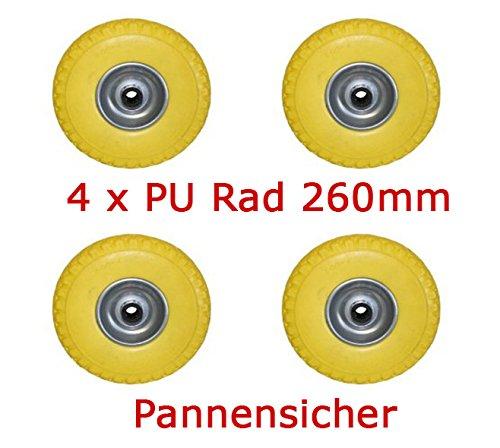 Preisvergleich Produktbild 4 Stück PU Rad 260 mm - Pannensicher, nie wieder Luftpumpen