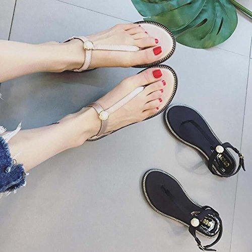 Pompe Clip Toe Slingback D'orsay Appartement Des sandales Plage Chaussures Femmes Simple Lanière Tongues Perle Boucle de ceinture Chaussures décontractées Eu Size 35-39 Pink